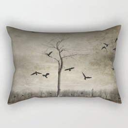 A Tree And Crows Rectangular Pillow