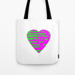 Glitching Hearts — Pink and Green Tote Bag