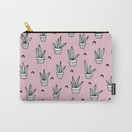 Soft pink pastel succulent home garden illustration pattern design Carry-All Pouch