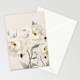 White Peonies Stationery Cards