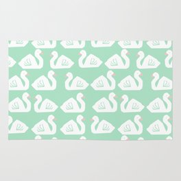 Swan minimal pattern print mint and white bird illustration swans nursery decor Rug