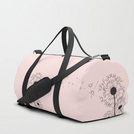 Contemporary Pink Dandelion Drawing Duffle Bag