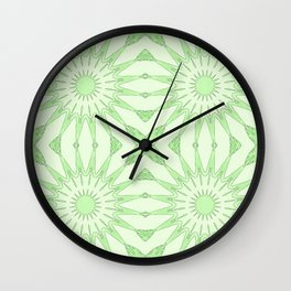 Pastel Green Pinwheel Flowers Wall Clock