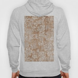 Vintage white brown grunge shabby floral Hoody