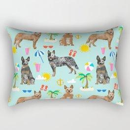 Australian Cattle Dog beach tropical pet friendly dog breed dog pattern art Rectangular Pillow