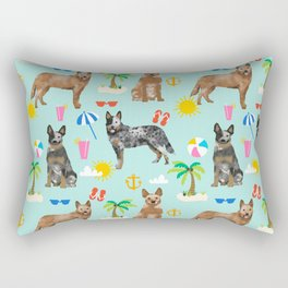 Australian Cattle Dog beach tropical pet friendly dog breed dog pattern art Rectangular Pillow