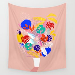 Keep Growing - Tropical plant on peach Wall Tapestry