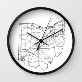 Ohio White Map Wall Clock