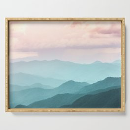 Smoky Mountain National Park Sunset Layers II - Nature Photography Serving Tray