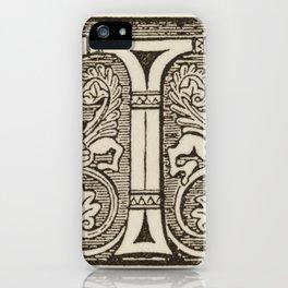 Letter T calligraphic initial. iPhone Case