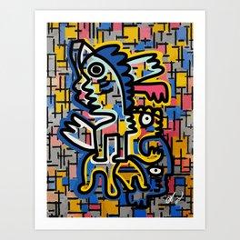 Graffiti Street Art Remix Composition Mondrian  Art Print
