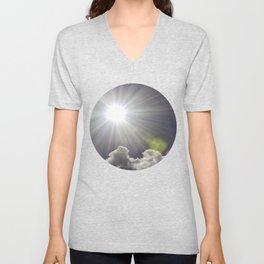 Lens flare sunflash Unisex V-Neck