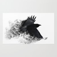 crow Area & Throw Rugs featuring crow by Cardinal Design