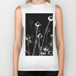 Graphic art. White ink and black cardboard. Flowers Biker Tank
