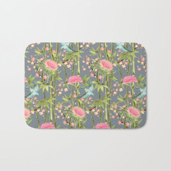 Bamboo, Birds and Blossom - grey Bath Mat