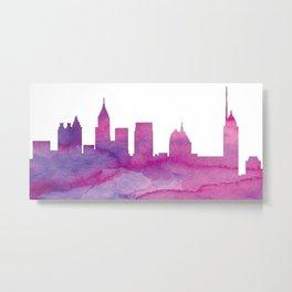 Philadelphia Skyline Purple Metal Print