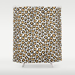Trendy Leopard Simulated Fur Effect Pattern Shower Curtain