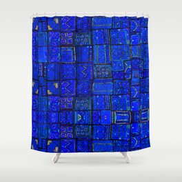 Deep Calm Blue Oriental Berber Traditional Moroccan Texture Design  Shower Curtain