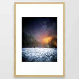 Yosemite Meadow in the Winter, Under the Stars Framed Art Print