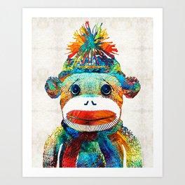 Sock Monkey Art - Your New Best Friend - By Sharon Cummings Art Print