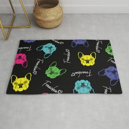 Frenchie Love Pop Art Pattern Design. Perfect for Dog Lovers Rug