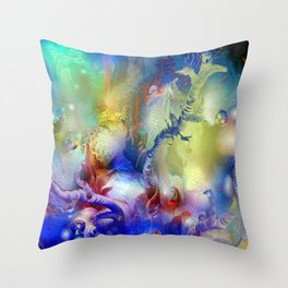 Coral Reef Yellow Blue Throw Pillow