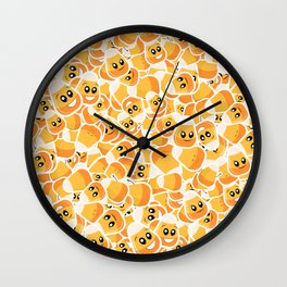 Candy Corn Emoji Pattern Wall Clock