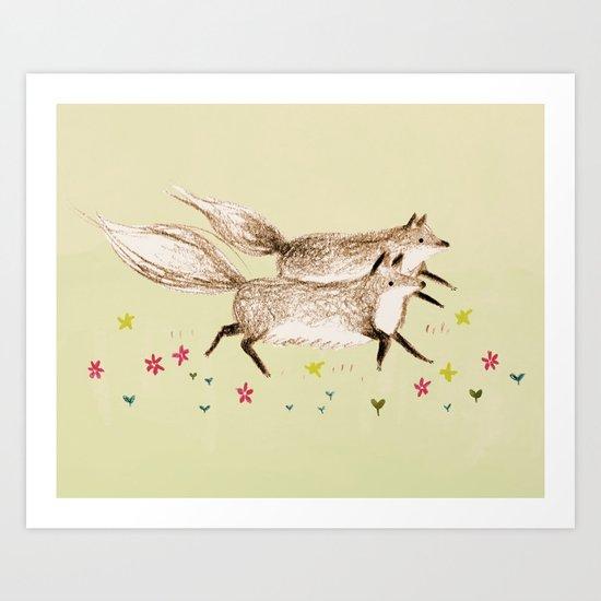 Running Foxes Art Print