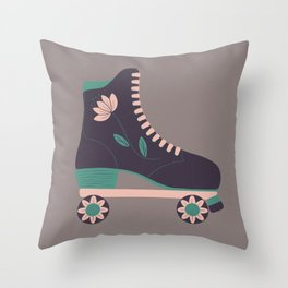 Retro Flower Skate- Purple and Baby Pink Throw Pillow