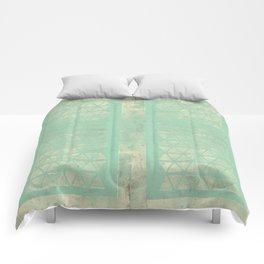 Antiqued Teal Panel Geometric Comforters