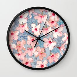Shabby Chic Hibiscus Patchwork Pattern in Pink & Blue Wall Clock
