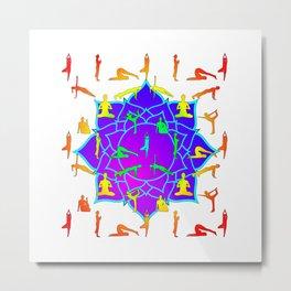 Lotus Flower With Yoga Poses Metal Print