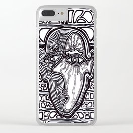 Contemplative Face with Sun Beams Clear iPhone Case