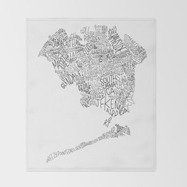 Queens - Hand Lettered Map Throw Blanket