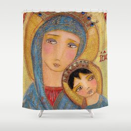 Our Lady of Perpetual Help by Flor Larios Shower Curtain