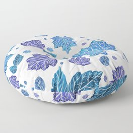 Autumn leaves pattern in blue Floor Pillow