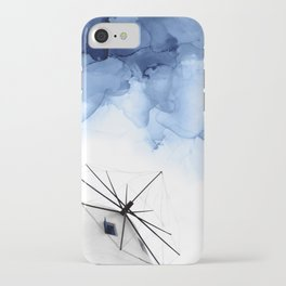 Blue Abstract Painting, Windmill Photography iPhone Case