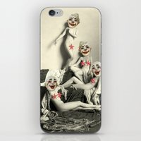 nudes iPhone & iPod Skins featuring RECLINING NUDE CLOWNS (censored) by Julia Lillard Art
