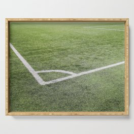 Corner football field, Corner chalk mark artificial grass soccer field Serving Tray