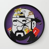kevin russ Wall Clocks featuring Kevin by Derek Eads