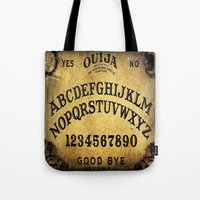 ouija Tote Bags featuring Ouija Board by Lostfog Co↟
