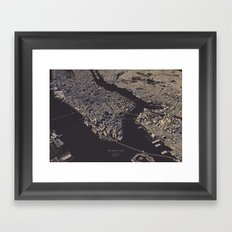 Manhatten city map II Framed Art Print