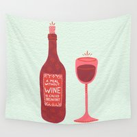 wine Wall Tapestries featuring Wine by Cat Coquillette