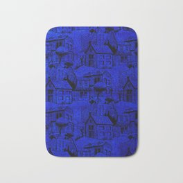 V25 Blue Architecture Design Traditional Moroccan Rug Background. Bath Mat
