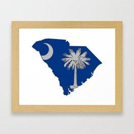 South Carolina Map with State Flag Framed Art Print