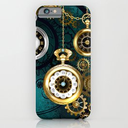 Clock with Gears on Green Background ( Steampunk ) iPhone Case