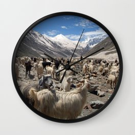 Sheep and Goats in Lahaul Valley Wall Clock