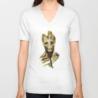 groot V-neck T-shirts featuring Groot by cos-tam