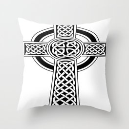 St Patrick's Day Celtic Cross Black and White Throw Pillow