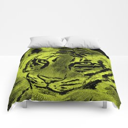 Tiger with Lime Background Comforters